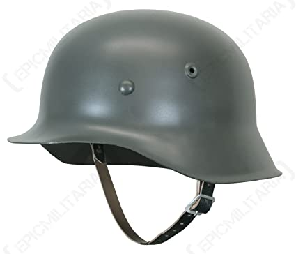 Reproduction WW2 German Army M42 STEEL HELMET with Leather Liner & Chin  Strap