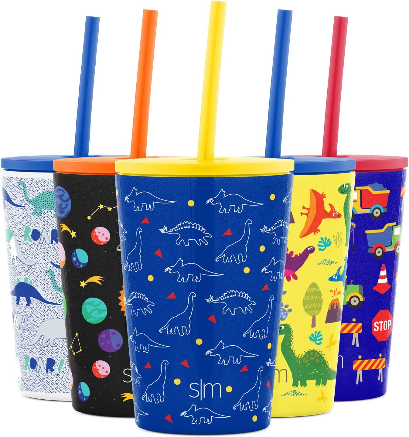 Simple Modern Kids Cup 12oz Classic Tumbler with Lid and Silicone Straw - Vacuum Insulated Stainless Steel for Toddlers Girls Boys Dinosaurs