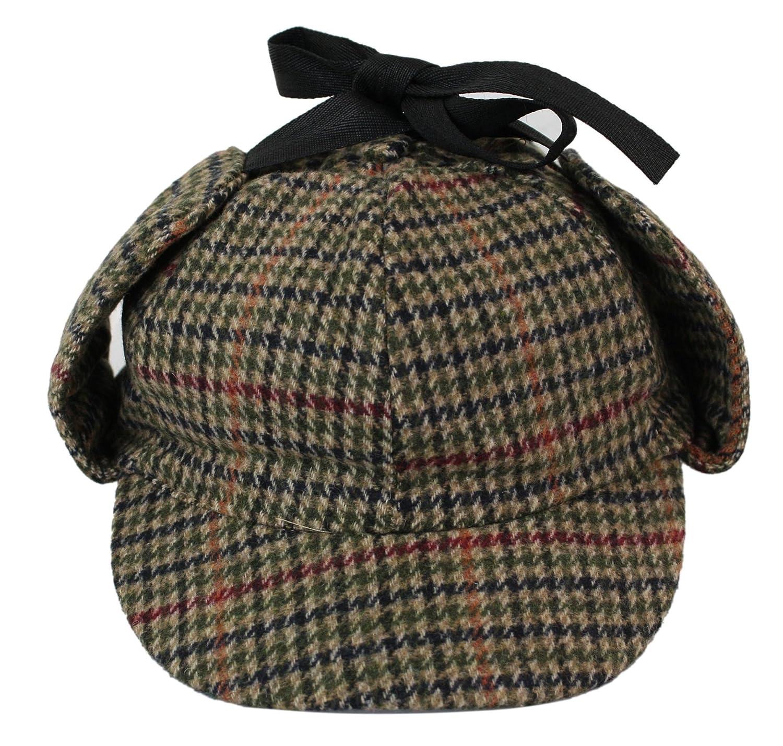 Classic Sherlock Holmes Tweed Herringbone Check Wool Vintage Hat Cap Deerstalker
