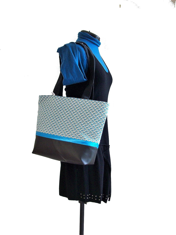 421904430a2250 sac cabas noir et bleu turquoise style scandinave sac shopping en simili  cuir et tissu graphique cadeau pour elle ...