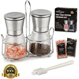 Salt Grinder and Pepper Mill, Shakers includes Himalayan Pink Salt & Pepper, 6 Oz Glass Body, 5 Grade Adjustable Ceramic Spice Crusher, Combo 2-Piece Set