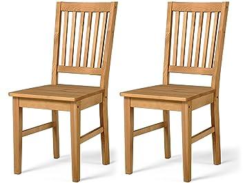 Charmant 2er Set Stuhl Esszimmerstuhl Essstuhl Küchenstuhl Lehnstuhl Holzstuhl Küche  Esszimmer Kiefer Massiv Natur Landhaus