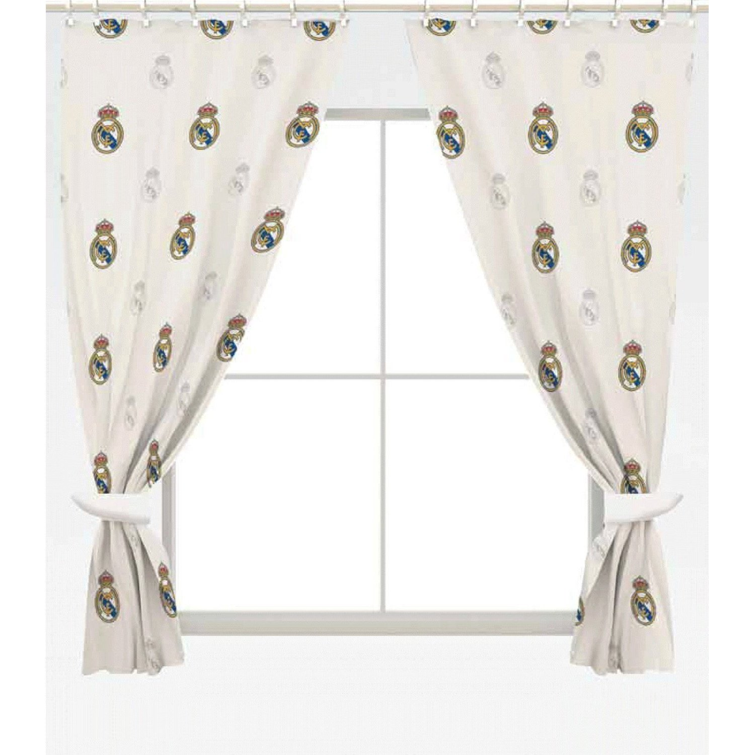 Real Madrid CF Official Ready Made Repeat Crest Curtains (One Pair ...