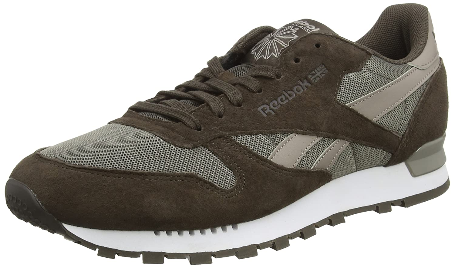 Reebok Herren Classic Leather Clip ELE Low-Top, Schwarz  39 EU|Braun (Cliff Stone/Stone/Beach Stone)