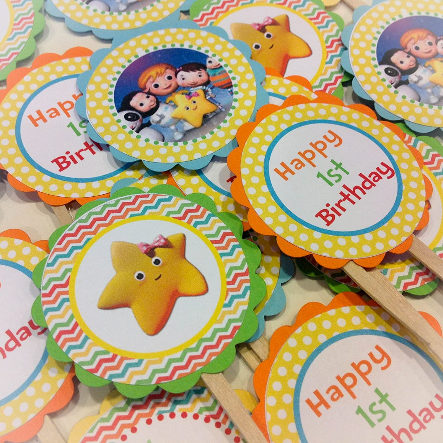 Amazon.com: PARTY PACK SPECIAL   Little Baby Bum Inspired Happy Birthday  Collection   Rainbow Chevron, Yellow Polka Dots U0026 Orange, Green, Yellow And  Blue ...