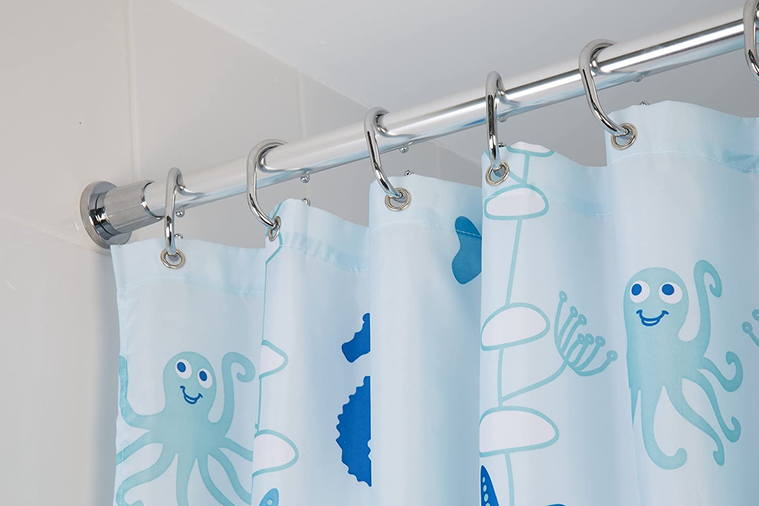 Croydex Self Supporting Telescopic Shower Curtain Rod Extends from ...
