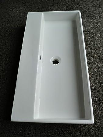 Keramik Waschbecken Aufsatzwaschtisch 80 X 42 Cm Weiss Ohne
