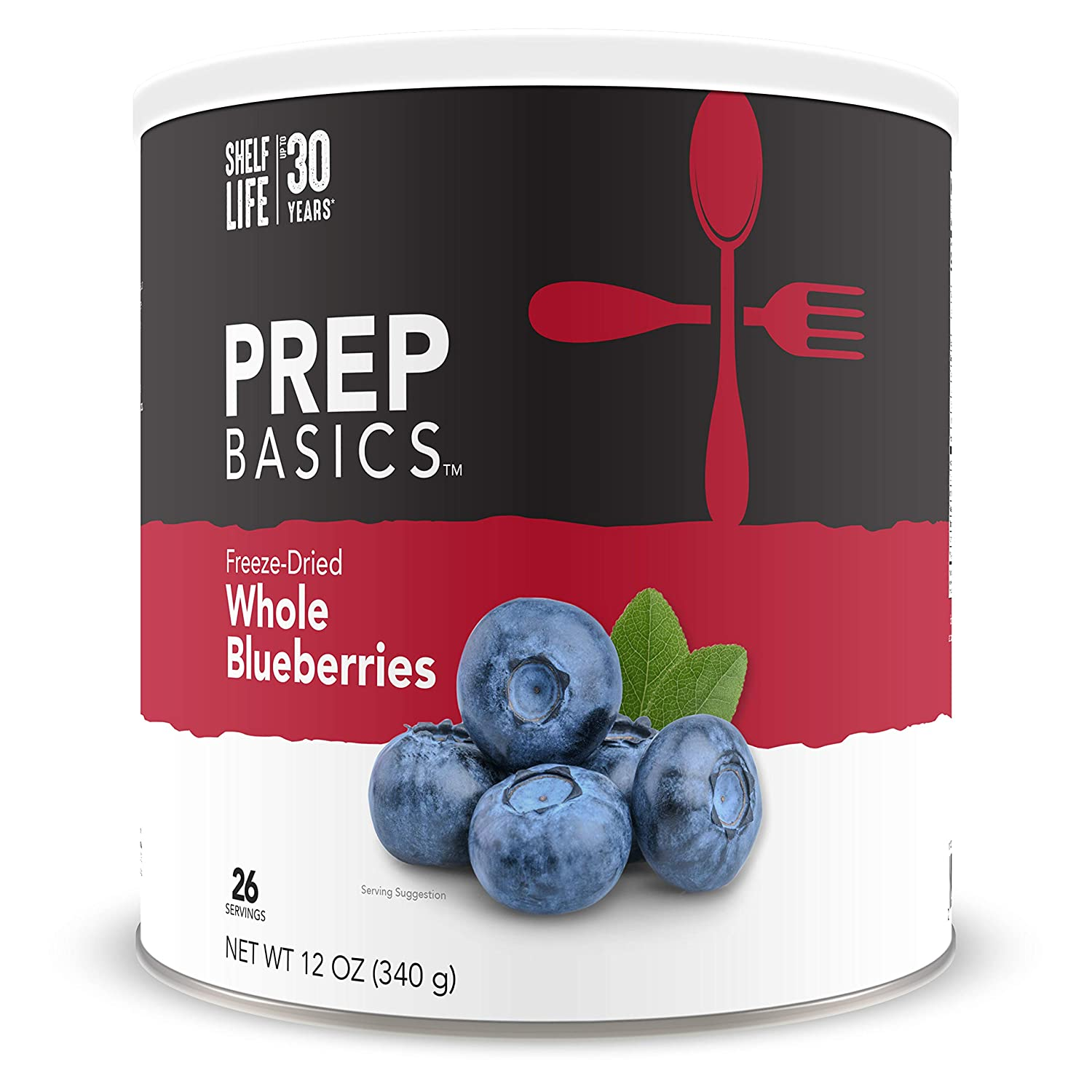 Prep Basics Freeze-Dried Whole Blueberries   Emergency Food Supply   1,170 Total Calories   26 Total Grams Protein   Up to 30 Year Shelf Life   No. 10 Can