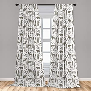 """Ambesonne Northwoods Curtains, Forest Elements with Bear Moose Trees and Mountains Wildlife Nature Theme, Window Treatments 2 Panel Set for Living Room Bedroom Decor, 56"""" x 84"""", Taupe White"""