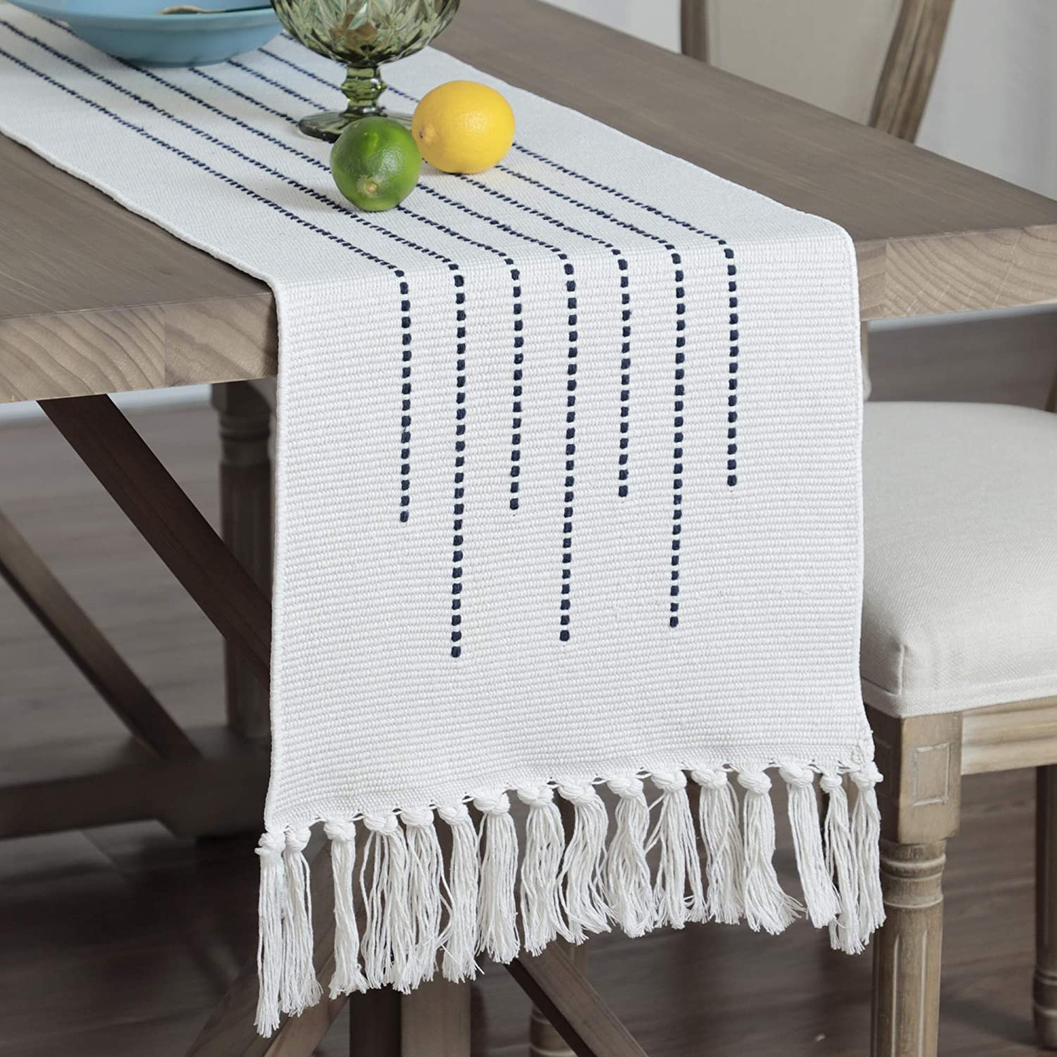 Braided Table Runner with Tassel Rectangle Coffee Table Dresser Decor Navy Blue Stripe 59 Inch