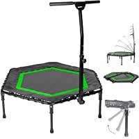 SportPlus opvouwbare fitness trampoline, opklapbare poten, Ø 126 cm, stille rubberen veering, 5-voudig in hoogte…