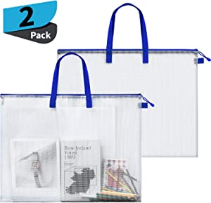 2 Pieces Art Portfolio Bag Poster Storage Bag Board Holder with Handle and Zipper 19 x 25 Inch Organizer Transparent Bag for Large Posters, Poster Board, Painting, Bulletin Boards (Blue)