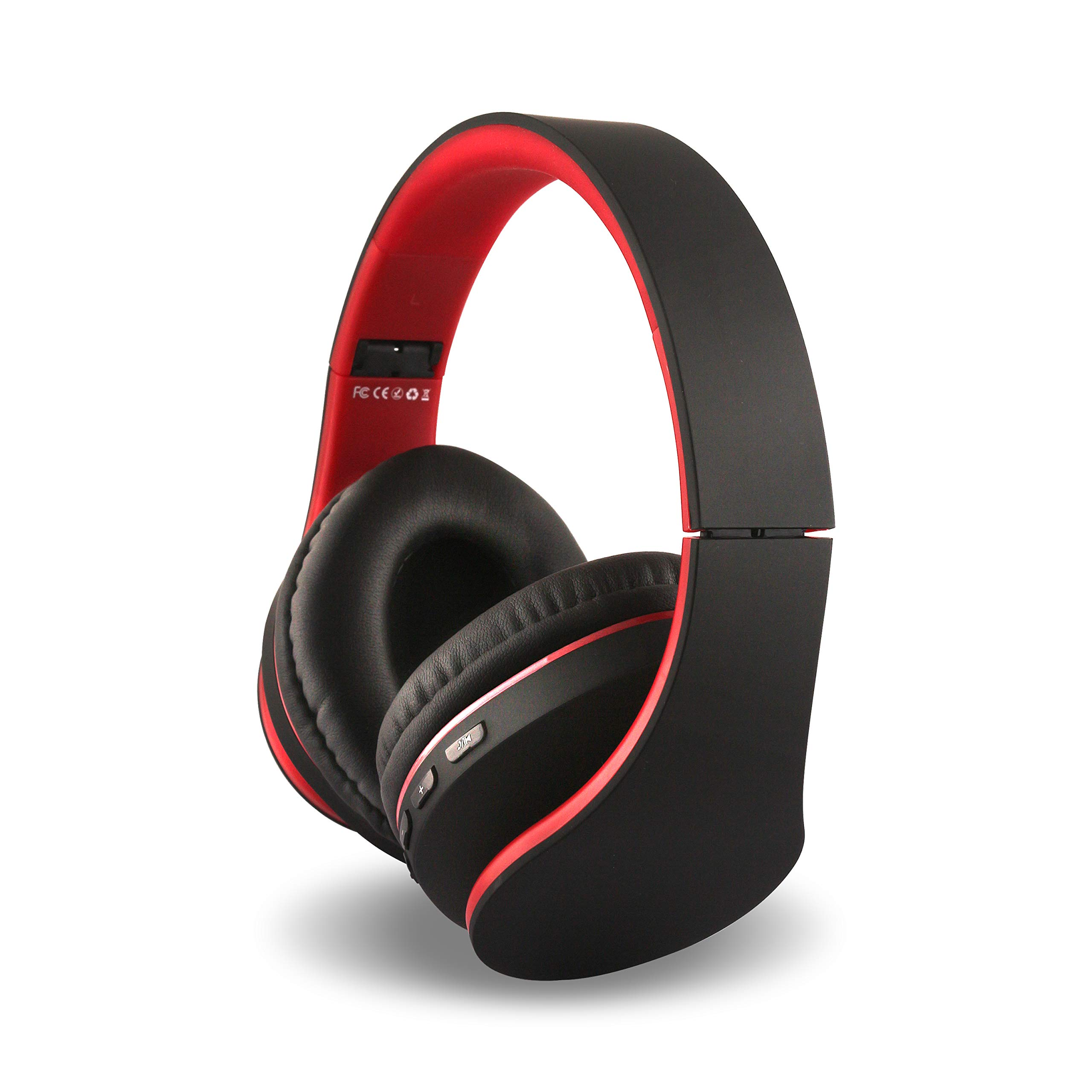 Alltrum Over-Ear Headphones,Hi-Fi Stereo Headset,Adjustable Headsets for Traveling/Sports/Relaxation,Foldable Headphones with Microphone and Music Playback for most of Smartphones,black&red