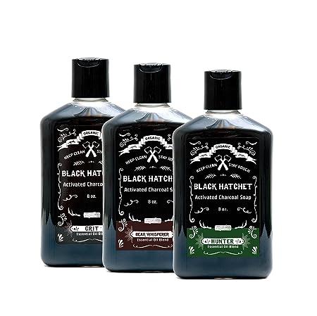 Black Hatchet Organic Charcoal Liquid Soap, 3 bottles 8 oz. ea.