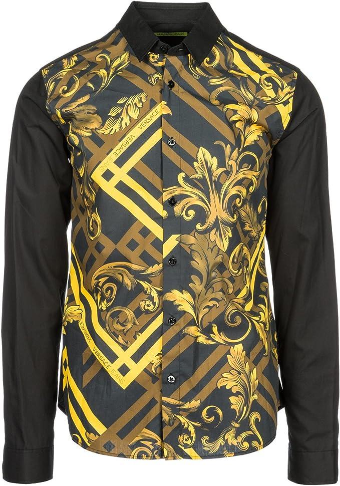 Versace Jeans Camisa de Mangas largas Hombre Amarillo: Amazon.es: Ropa y accesorios