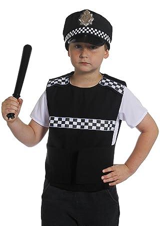 CHILDRENu0027S POLICE VEST FANCY DRESS COSTUME - BRITISH POLICE JACKET WITH BLACK u0026 JACKET CHECKERED DETAIL  sc 1 st  Amazon UK & CHILDRENu0027S POLICE VEST FANCY DRESS COSTUME - BRITISH POLICE JACKET ...
