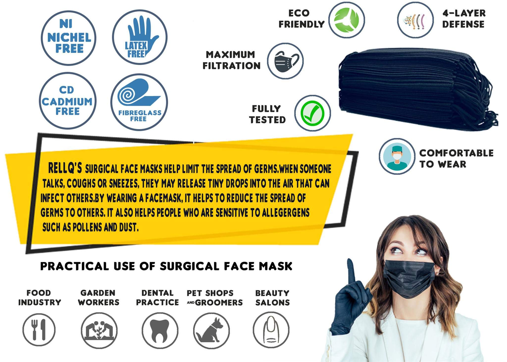 RellQ Disposable Earloop Surgical Mask Medical Dental Face Flu Mask, Premium Soft Four Layer (3 Ply + Carbon Filter) Hypoallergenic Immune System Protection, 60 Pcs + 5 Face Mask for Kids, Black Color