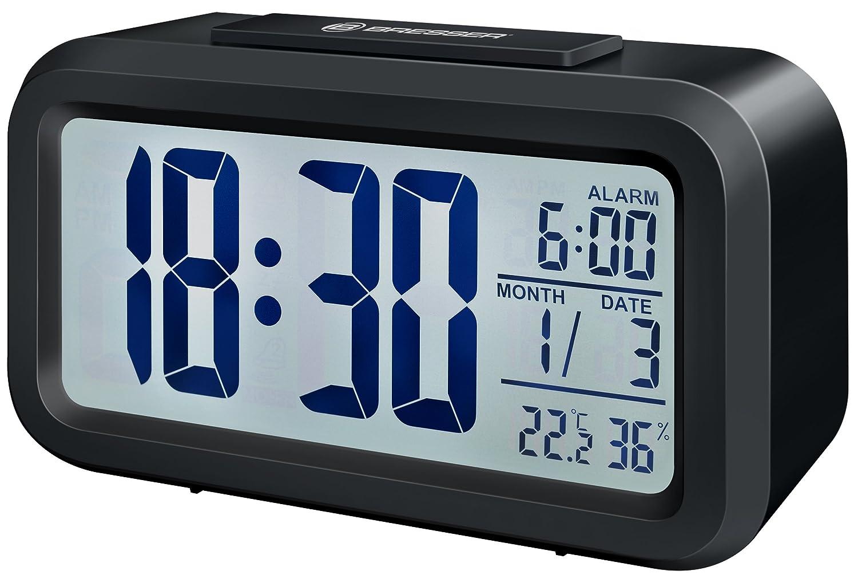 Bresser MyTime - Reloj despertador con pantalla LCD, color negro (importado): Amazon.es: Jardín