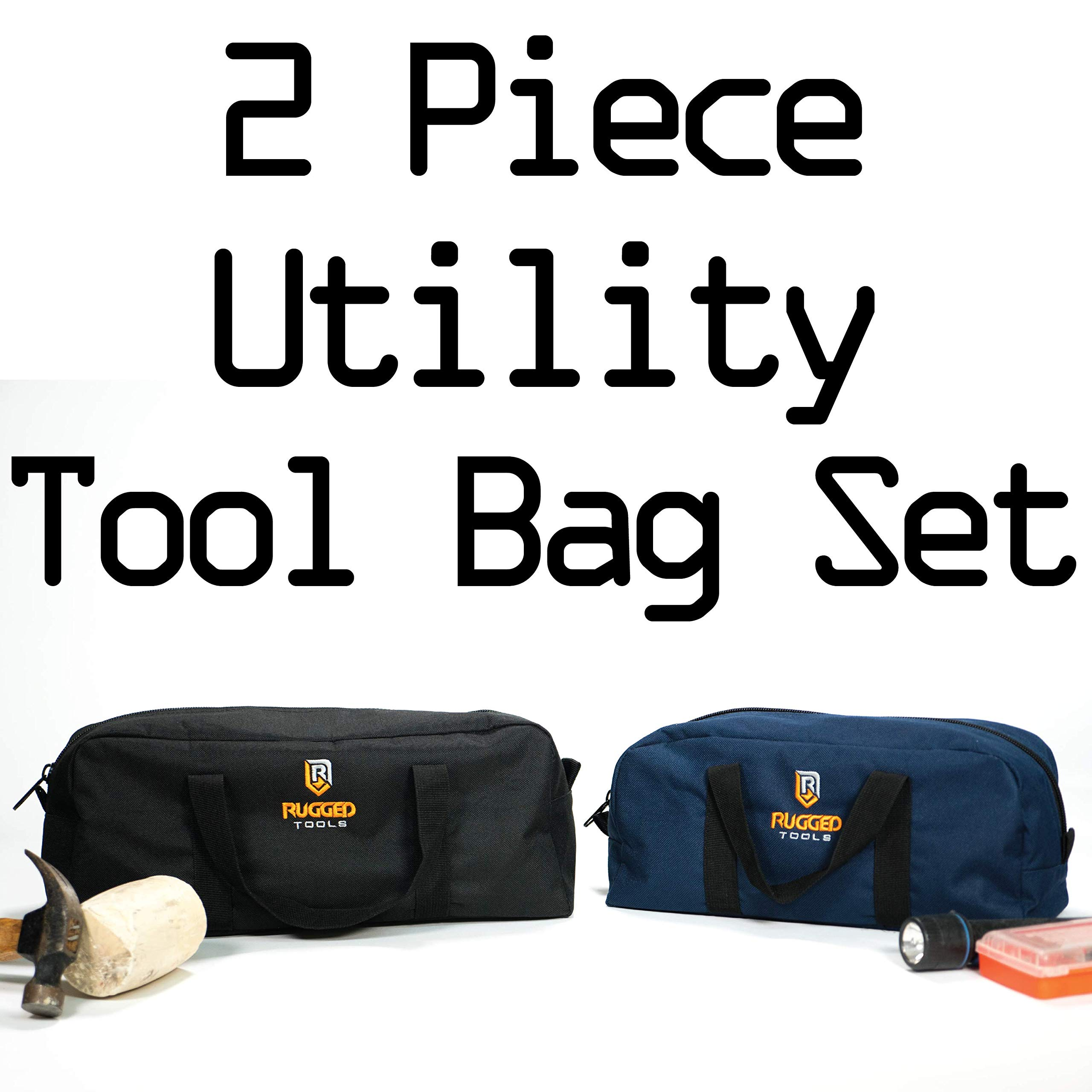Rugged Tools Tool Bag Combo - Includes 1 Small & 1 Medium Toolbag - Organizer Tote Bags for Electrician, Plumbing, Gardening, HVAC & More by Rugged Tools (Image #4)