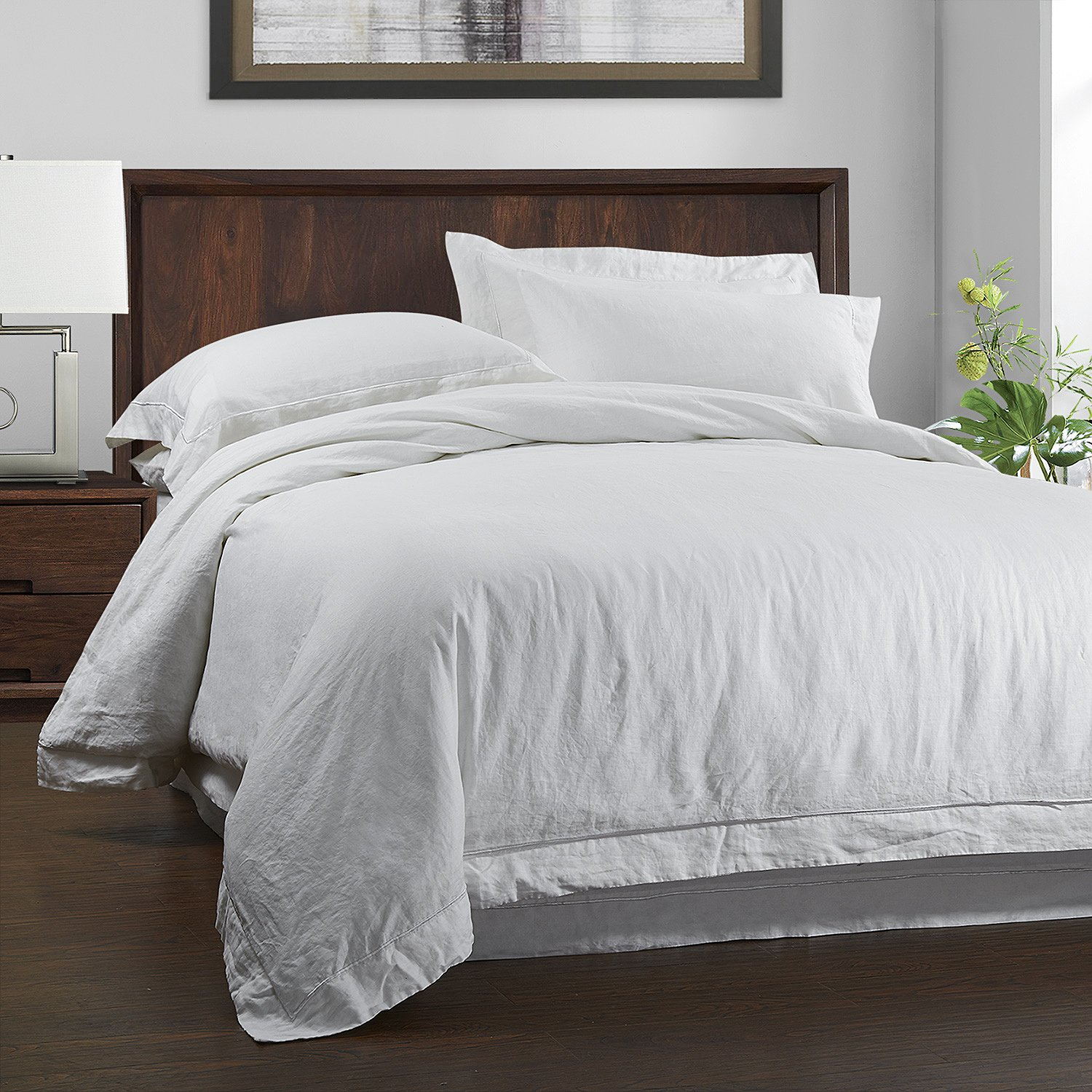 Amazon.com: Simpleu0026Opulence 100% Linen Duvet Cover Set 3 Piece White And  Grey Solid Wash King Size (1 Duvet Cover, 2 Pillowcases): Home U0026 Kitchen