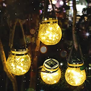 Solar Lanterns Outdoor Hanging Garden Lights 30 LED Decorative Light Waterproof Glass Bottle LED Tabletop Lamp for Garden Patio Courtyard Yard Lawn-4Pack.