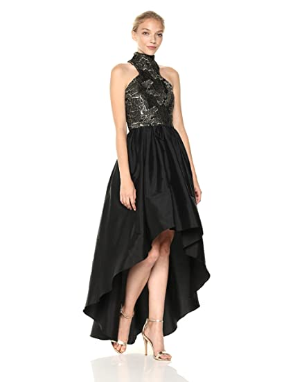 54c67492f7f8 Vera Wang Women's Metallic Embroidered Mock Neck High Low Ballgown Special  Occasion Dress: Amazon.co.uk: Clothing