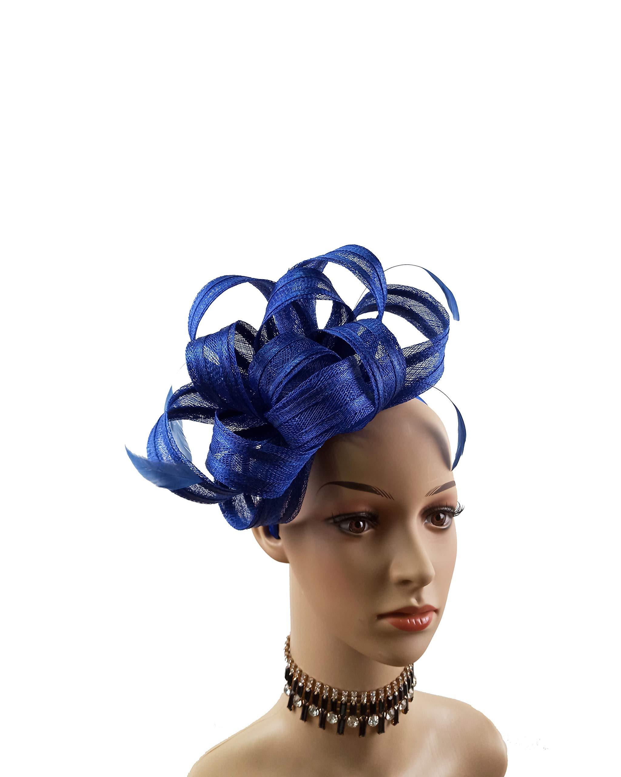 ABPF Sinamay Bow Feather Fascinator Headband Hats Wedding Church Racing Hat (Royal Blue)