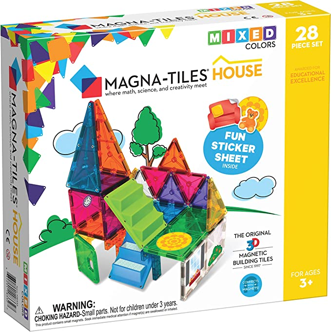Magna-Tiles House Set, The Original Magnetic Building Tiles For Creative Open-Ended Play, Educational Toys For Children Ages 3 Years + (28 Pieces + Reusable Silicone Stickers) | Amazon