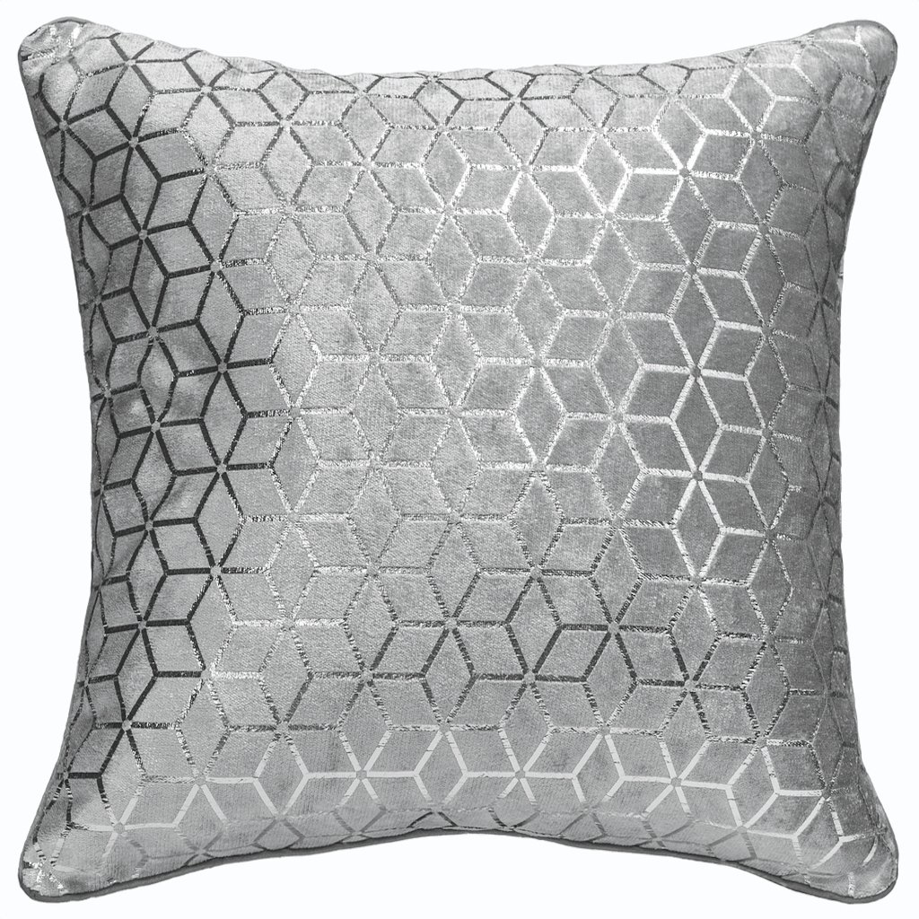ShawsDirect Vera Luxury Soft Velvet, Geometric Silver Foil Pattern, Faux Silk Reverse, Single Scatter Cushion Cover, 43cm/17in Square (Silver)