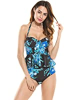 Ekouaer Womens 2 Piece Push Up Vintage Floral Peplum High Waist Bikini Swimsuit