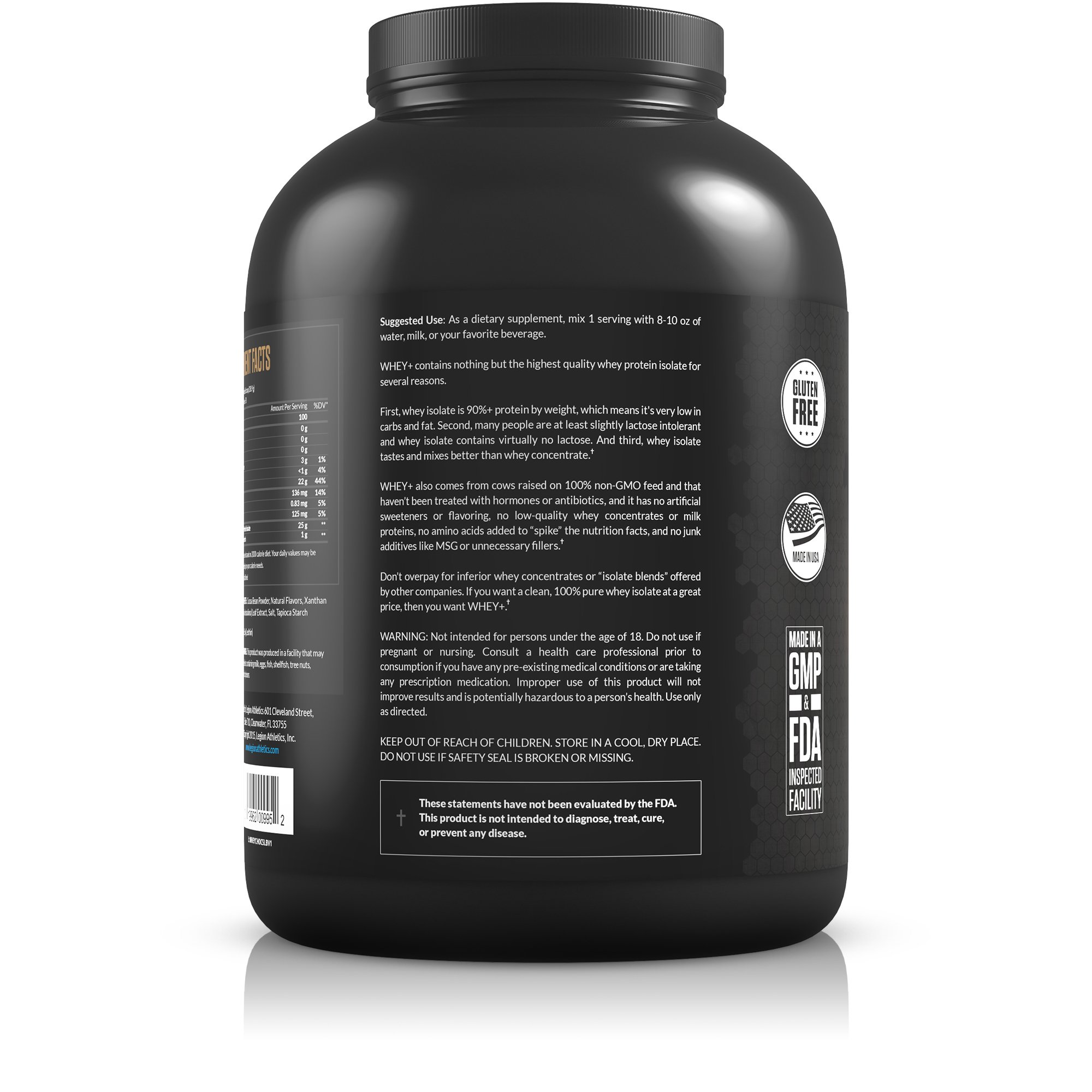 Legion Whey+ Chocolate Protein Powder 5lb. Best Tasting All Natural Whey Isolate Protein Shake From Grass Fed Cows For Bodybuilding, Weight Loss & Faster Recovery - Low Carb, Lactose Free, Sugar Free. by Legion Athletics (Image #2)