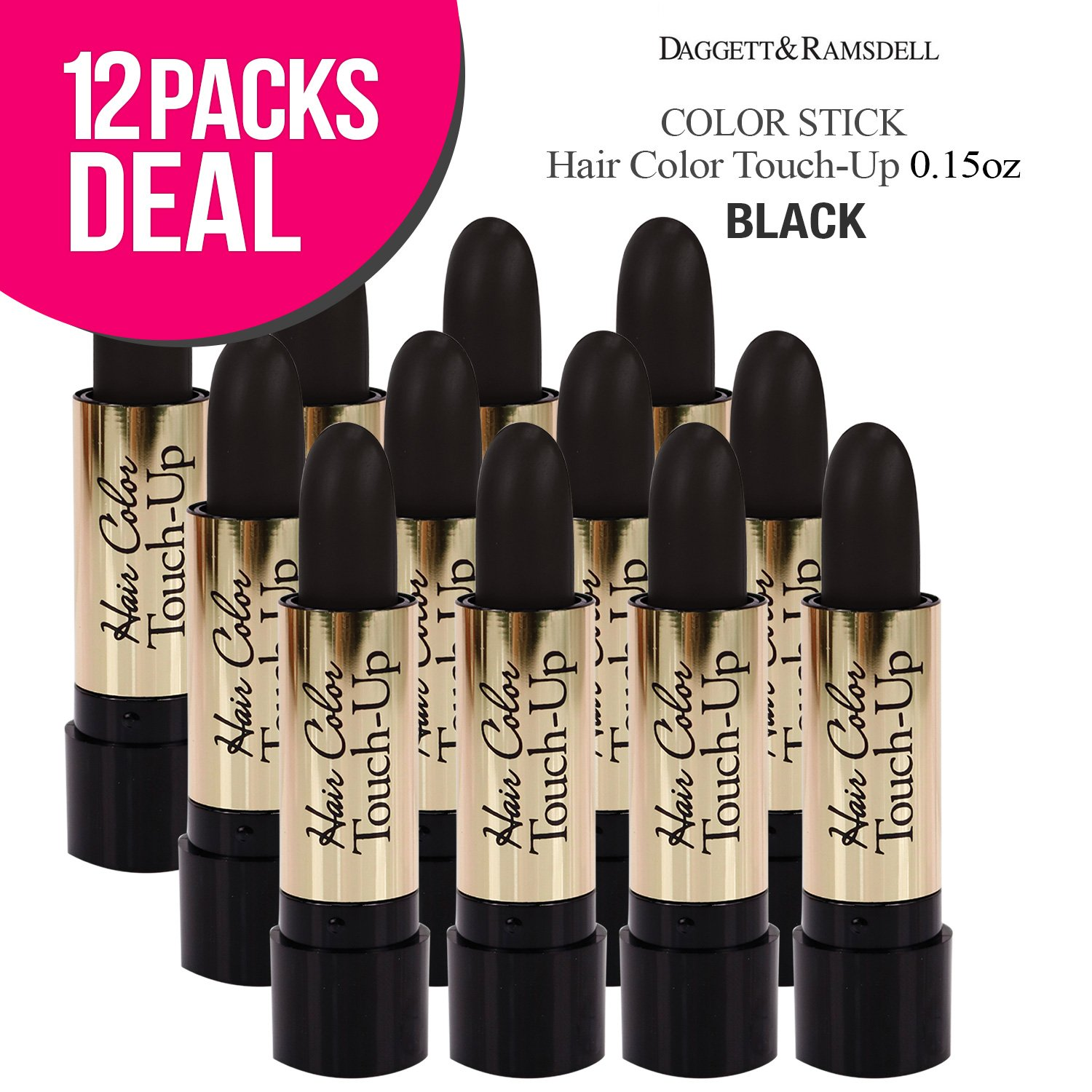 (12 PACK) Root Color Cover Stick Hair Color Touch-Up 0.15oz (BLACK)