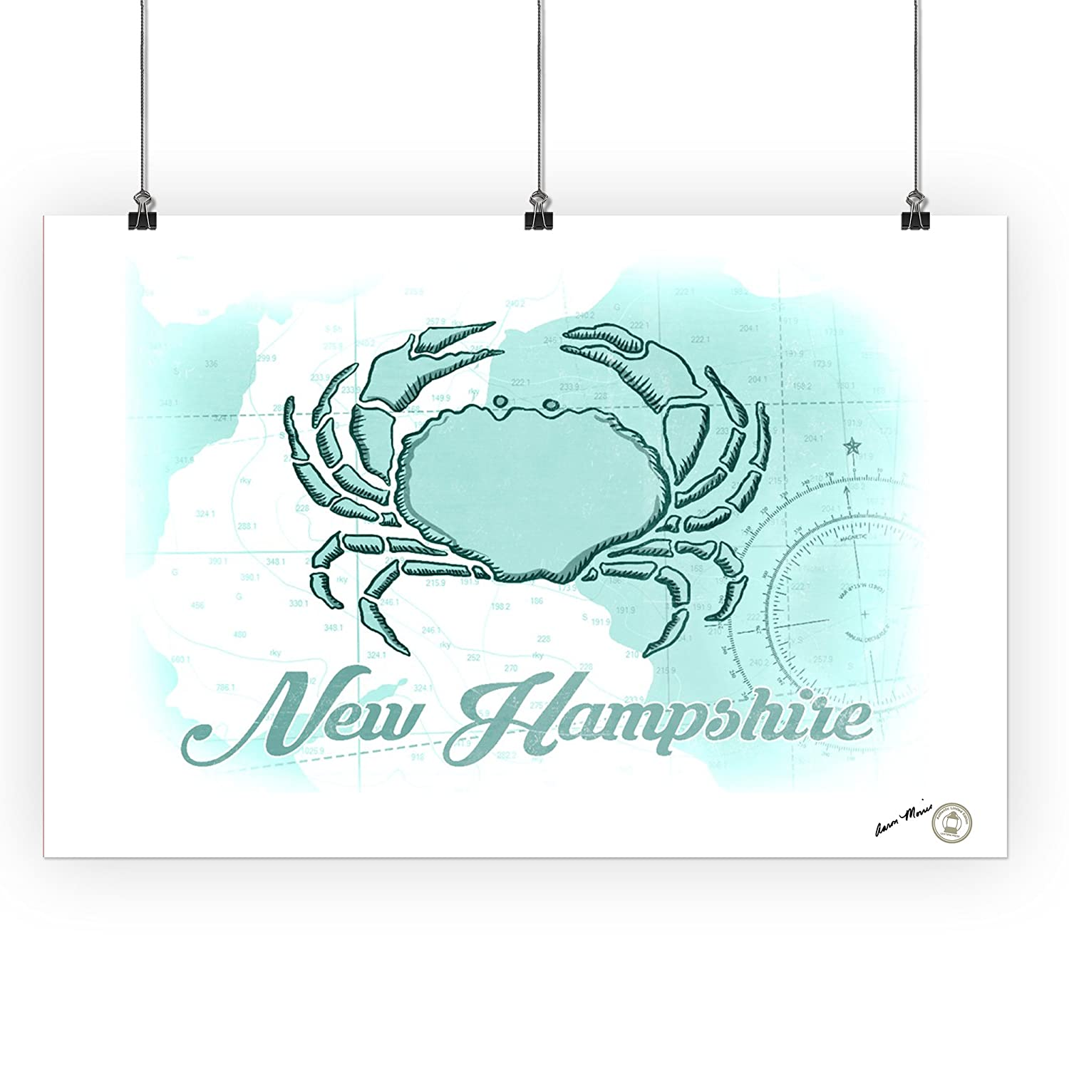 36x54 Giclee Gallery Print, Wall Decor Travel Poster Teal Coastal Icon New Hampshire Crab