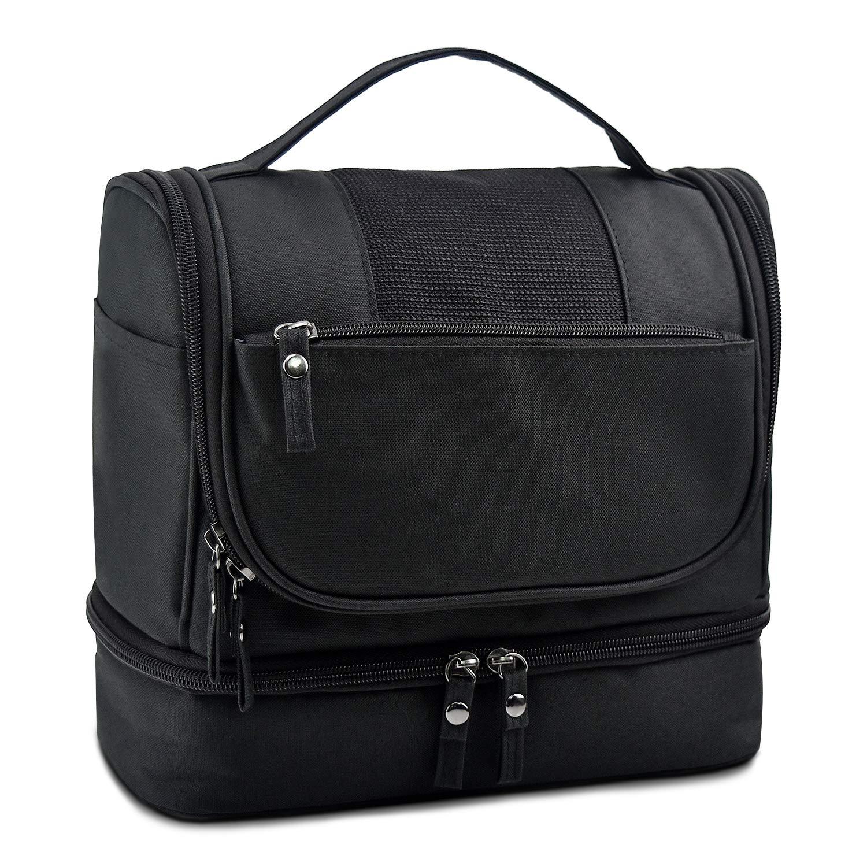 AMJ Toiletry Travel Bag for Women & Men Waterproof Hanging Toiletry Bag Multifunction Portable Cosmetic Bag Oxford Fabric Makeup Organizing Black