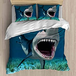 FEIDANNO Shark Duvet Cover Set Twin Size,A Mako Shark with Mouth Open Showing Teeth,Decorative 3 Piece Bedding Set with 2 Pillow Shams (Color 9, Twin)