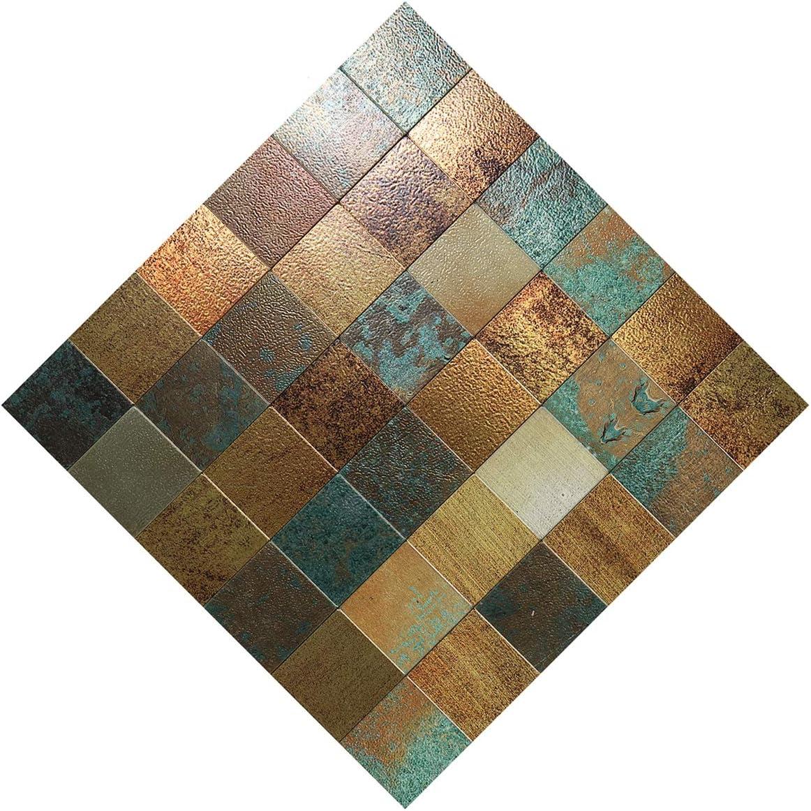 "HomeyMosaic Peel and Stick Tile Backsplash Stick on Kitchen Wall Decor Aluminum Surface Metal Mosaic Smart Tiles Sticker,Square Plaid Imitation Rust Classical Retro Bronze(12""x12""x 5 Sheets)"