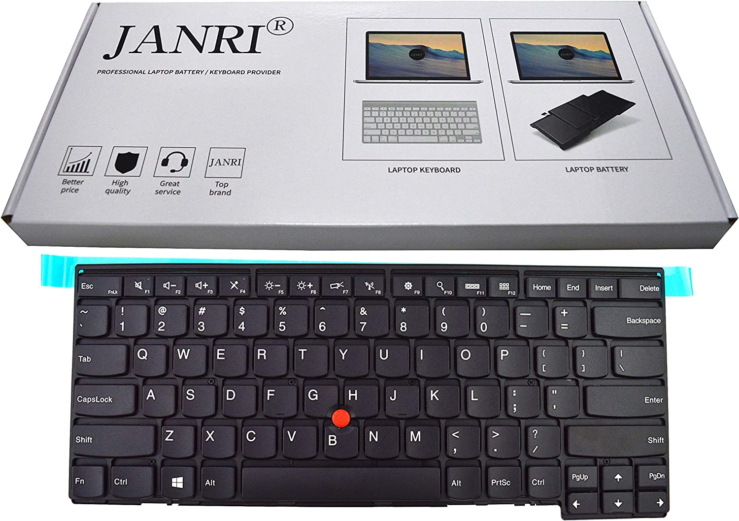 JANRI Replacement US Laptop Keyboard Without Backlit Backlight for Lenovo ThinkPad T431 T431s T440 T440E T440p T440s T450 L440 T450s T460 L450 L460 Edge E431 E440 04X0111 04X0111 04X0101 0C43944