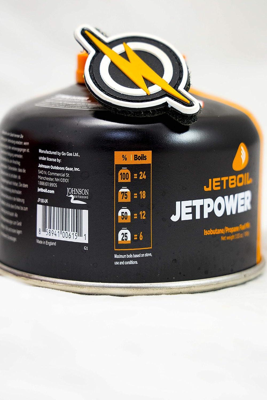 First and Only Airsoft Jetboil Jet Boil Jetpower Gas de la Estufa de Gas propano en Recipiente de 100 g y Parche FAO 100 Potencia de propano para su Estufa//Estufa de Gas