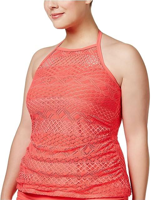 5952ca9133d Amazon.com  Island Escape Women s Plus Size Underwire High-Neck Tankini Top   Clothing