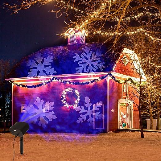 Luces de Proyector de Navidad,OxyLED Luces de Proyector Luz de Efecto LED con Onda y Copo de Nieve Luces de Proyector Dobles Impermeable Interior ...