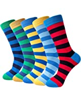 5-pair Mens Fun Cool Cotton Colorful Dress Socks, size:7-11