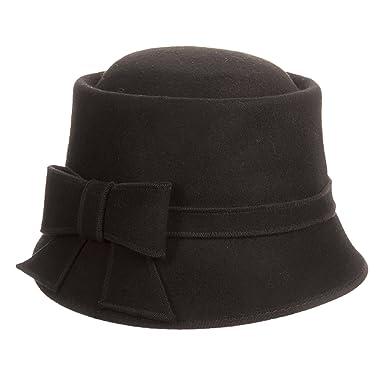 28d6dec93e111 Scala Collezione Wool Felt Bow Detail Dimensional Brim (Black) at ...