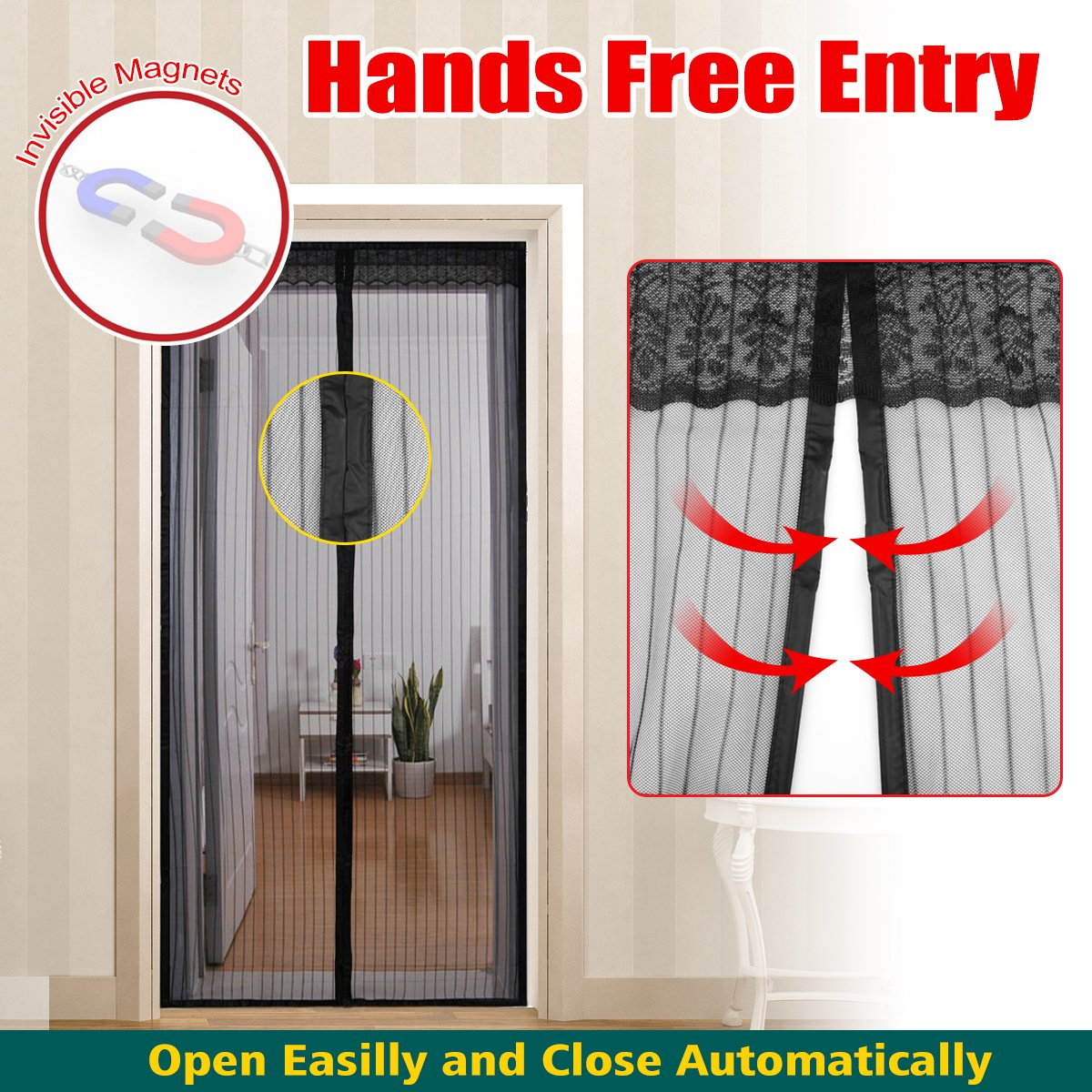 Magic Mesh Hands Free Screen Door Curtain Full Frame Velcro And 26