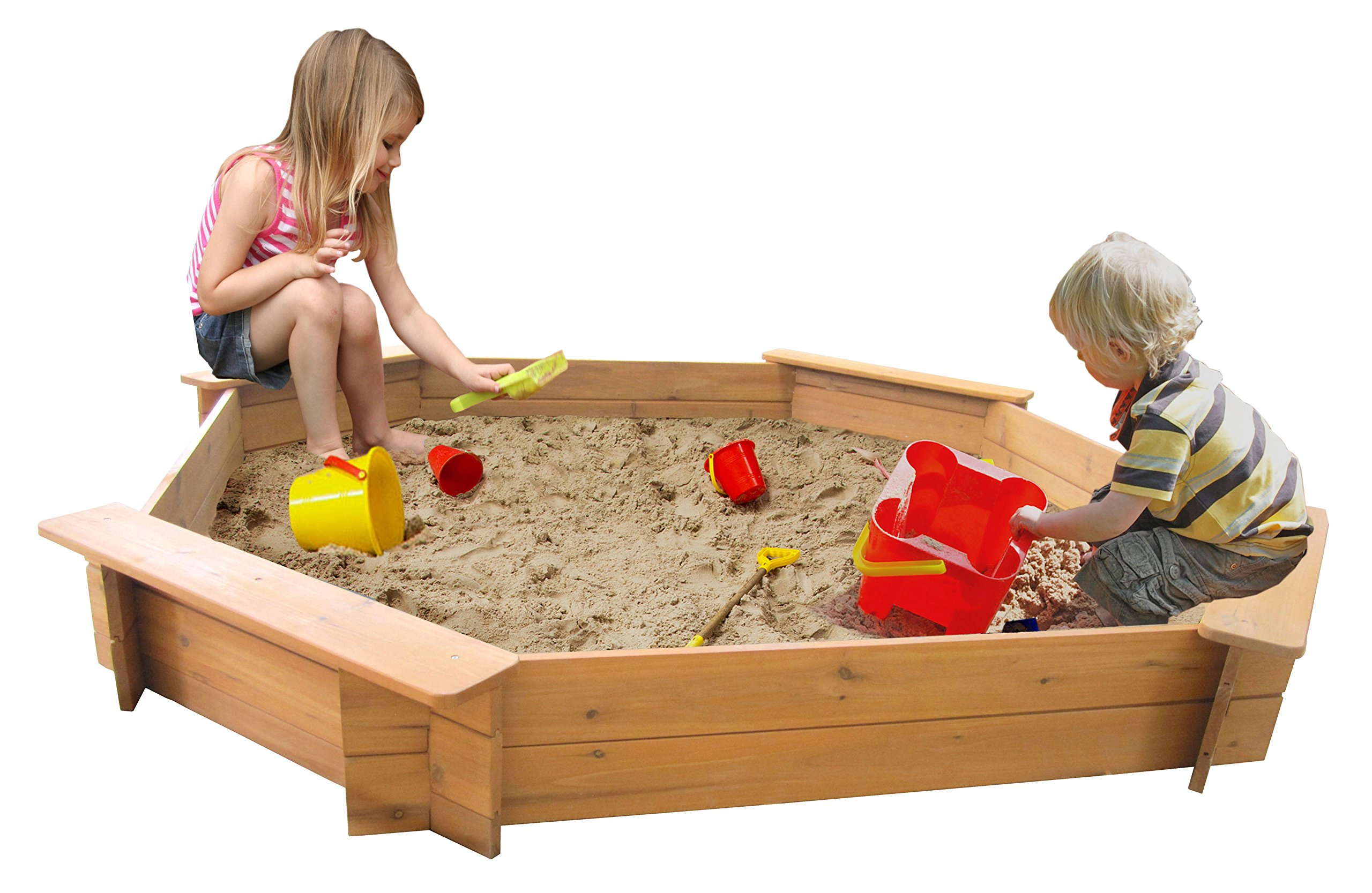 Big Game Hunters 6410 Giant 1.8 Metre Octagonal Wooden Sandpit 20 Centimetres Deep Complete with Underlay and Rain Cover, Natural Wood