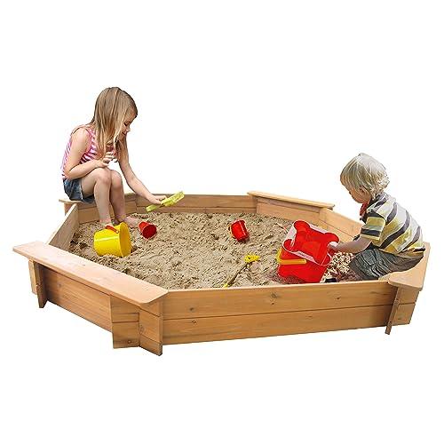 Jeux de jardin Géant 1,8m octogonale bac à sable en bois 20cm complet avec sous-couche et housse de pluie