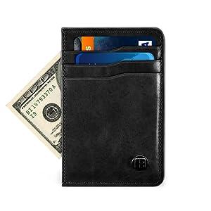 Benuo RFID Porte-cartes en Cuir Véritable Blocage RFID Portefeuille Porte-cartes de Crédit Porte-cartes d'identité Porte-cartes de Visite Porte-cartes de Transport