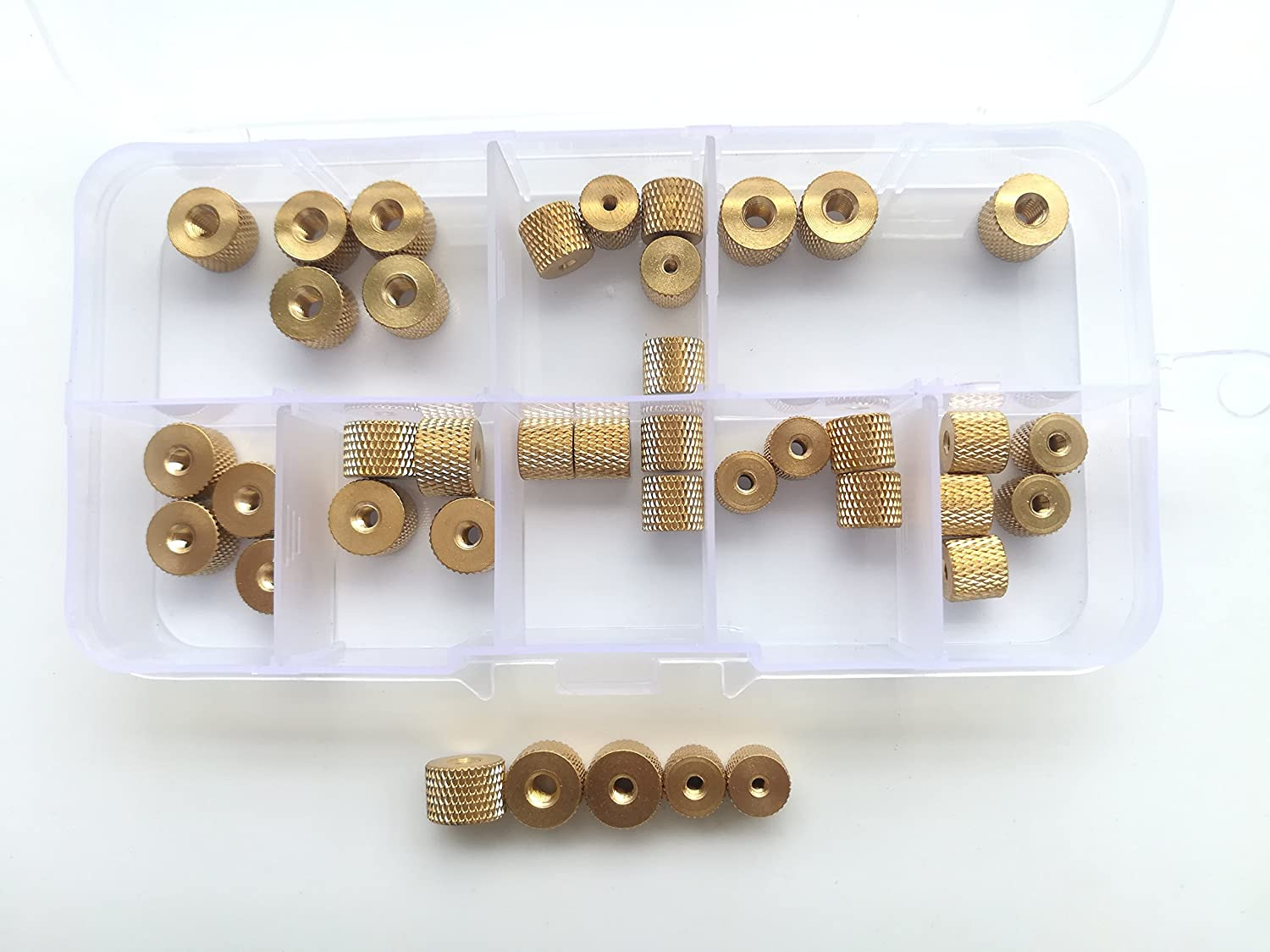 40pcs M2 M2.5 M3 M4 Brass Pineapple Thread Nuts Hand Twist Tighten nut Water Cooling Model Modification Sleeves
