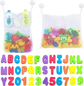 MEHAC Bathtub Foam Letters & Numbers + 2 x Dry Toy Organizer + 5 Strong Hooks | Eco-Friendly Educational Game Soft Alphabet 123 Like Magnetic And Mesh Storage Holder , 4 Suction Cups With Extra 1 For Baby Toddlers Kids Girls Boys Preschool