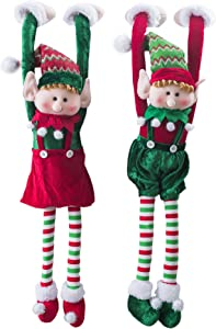 Wewill Adorable Flexible Christmas Elves Dolls Home Decoration on The Shelf Hanging Ornament 30-Inch-Set of 2