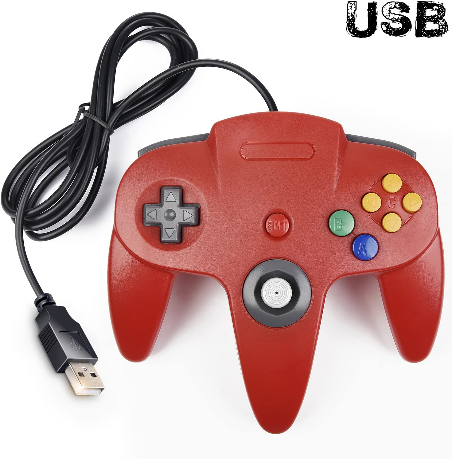 SAFFUN Classic Retro N64 Bit USB Wired Controller for Windows PC MAC Linux Raspberry Pi 3 (Red)